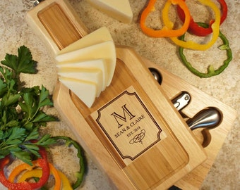 "Personalized Wine & Cheese Board Tool Set with Couple's Monogram Design Options and Font Selection (Each - 13"" x 6"")"