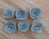 6 Burlap Rose Flower- Handmade Rustic Collection Posey Roses 6 PCS Dusty Blue Rustic Wedding Decoration Bridal Decor Card Making Flowers