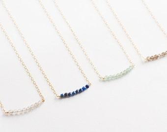 Bridesmaid gemstone necklace - semi precious necklace - gold bead bar - bridesmaid gift - beaded necklace