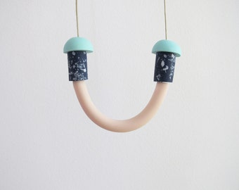 Smile necklace with galaxy beads