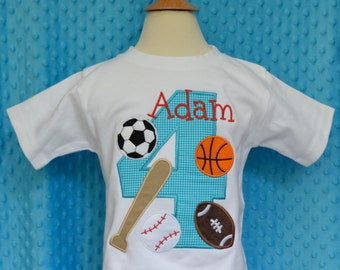 Personalized Birthday Sports Applique Shirt or Onesie Girl or Boy