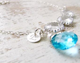 aquamarine Gemstone bracelet Personalized initial Bracelet Aquamarine Birthstone crystal bracelet aquamarine jewelry march birthstone gift