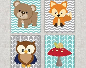 Set of 4 woodland nursery prints 11x14