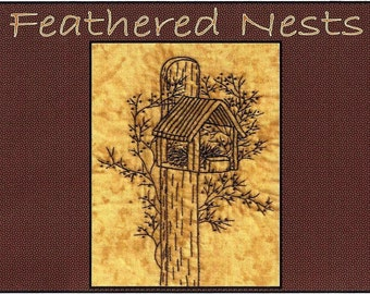 Feathered Nests - Cardinal House - Redwork Hand Embroidery Pattern - by Beth Ritter - Instant Digital Download