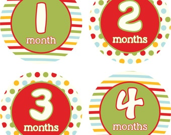 Baby Month Stickers Baby Monthly Stickers Girl Monthly Shirt Stickers Red Green Blue Glold Shower Gift Photo Prop Baby Milestone Sticker