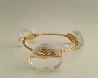 Clear Crystal Wire Wrapped Gold Bangle