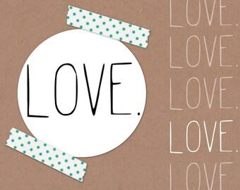 Love. // mini stamp Ø 1,2 cm / scrapbooking / natural rubber