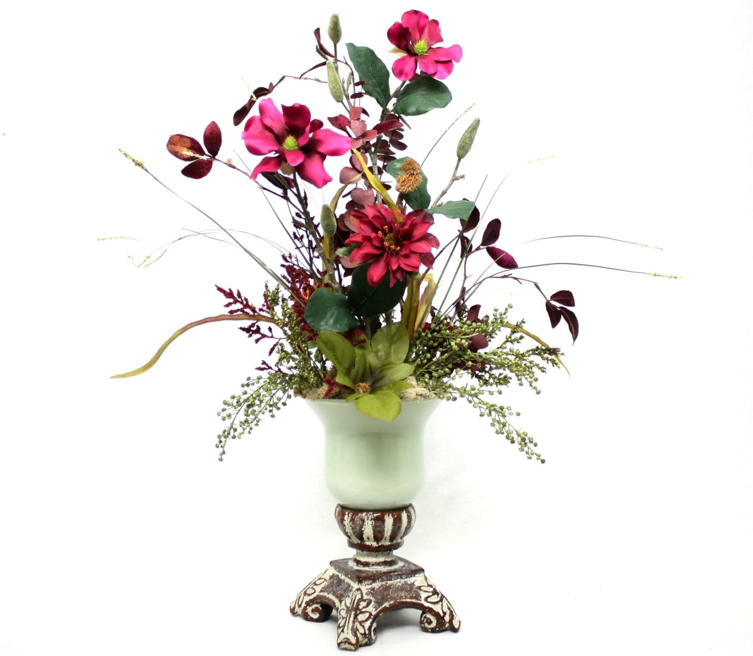 Spring decor silk flower arrangement home decorating dining for Dining table flower arrangements