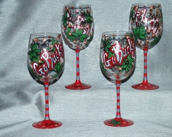 Hand painted wine glasses Ohio State Set of 4