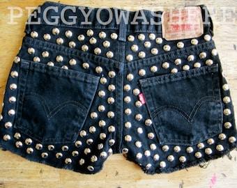 Vintage Levi's black  denim high waist cut off festival shorts massive round studs distressed frays size 2 waist 25 OOAK