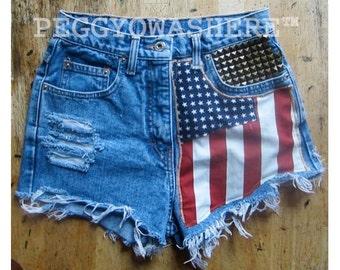 Vtg faded rag high waist Cut offs denim shorts Massive brass studs American Flag moto PEGGYOWASHERE design