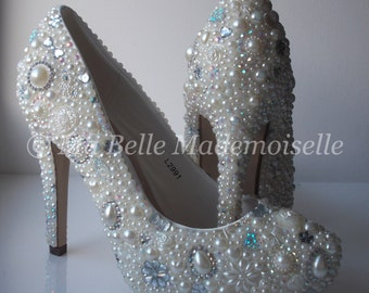Pearl & Crystal Bridal Wedding Shoe's, Pearl Bridal Shoes, Crystal Bridal Shoes, Pearl Wedding Shoes, Crystal Wedding Shoes