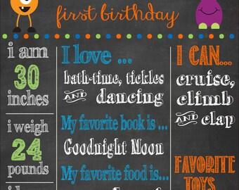 First Birthday Chlalkboard , Birthday Chalkboard Poster, Printable Birthday Chalkboard, Monster Birthday Party, Monster Birthday