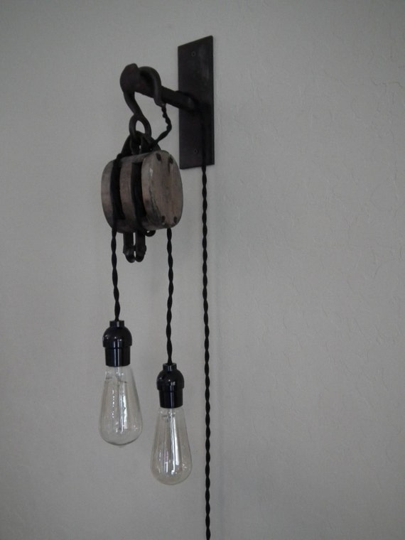 Items Similar To Vintage Block And Tackle Two Light Wall