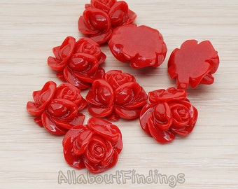 CBC214-01-DR // Dark Red Colored Full Bloom Rose Flower Flat Back Cabochon, 4 Pc