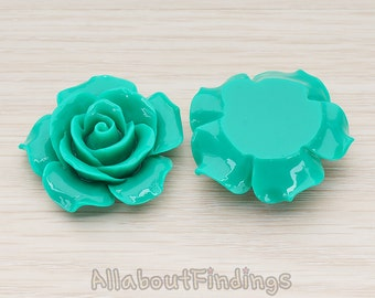 CBC157-07-GR // Green Colored 35mm Angelique Rose Flower Flat Back Cabochon, 2 Pc