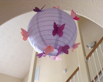 "8"" purple princess, paper lantern, butterfly lantern, paper lanterns, princess party, princess room decor, princess birthday, butterfly"