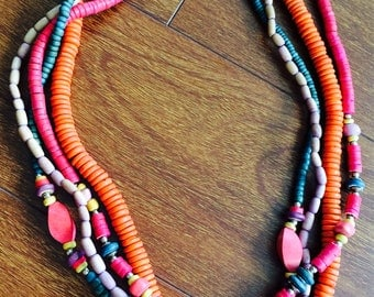 Vintage Colorful Wood Necklace