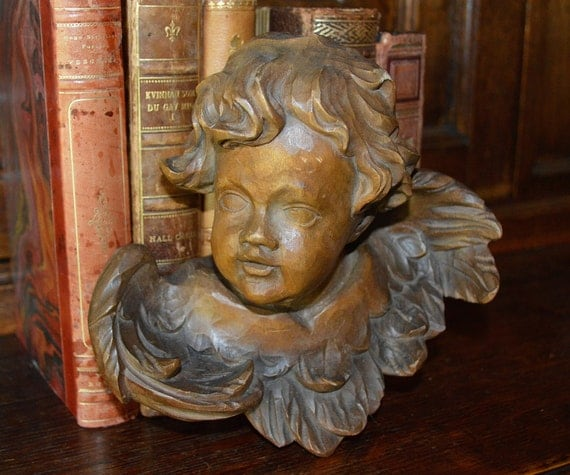 Antique large german carved wood cherub angel head with wings