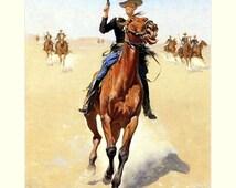 "The Trooper, 1891, Frederic Remington, Cavalry, Soldier, Western, Plains  8x10"" Silk Canvas Print"