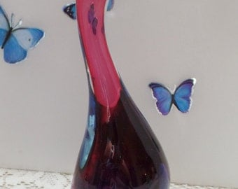 "Fabulous Murano bird. 10"" tall, gradient purple, lavender, pink to clear."