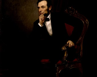 """Portrait of Abe Lincoln, President, by Healy, 1869 11x14"""" Cotton Canvas Print"""