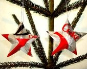 Recycled Diet Coke Snowflake Soda Can Aluminum Stars - Set of 2 Christmas Ornaments