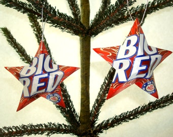 Recycled Big Red Soda Can Ornaments - Set of 2 Classic Texas Soda Pop Stars - Christmas Ornaments Or Gift Toppers