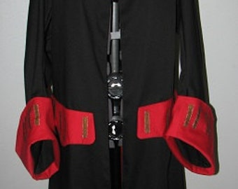 Medieval Renaissance Mens Womens Black and Red Pirate Jacket