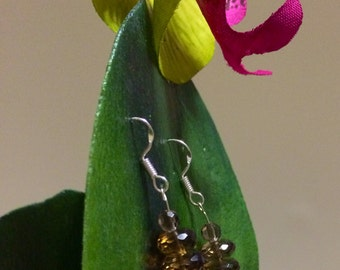 Sterling Silver Faceted Smoky Quartz  drop Earrings.