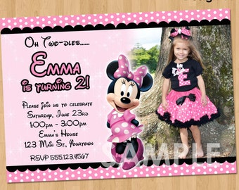 Minnie Mouse Birthday Invitation - Party Printable Custom Personalized Digital Photo Card Invite 4x6 or 5x7 Bowtique Boutique Pink & Black