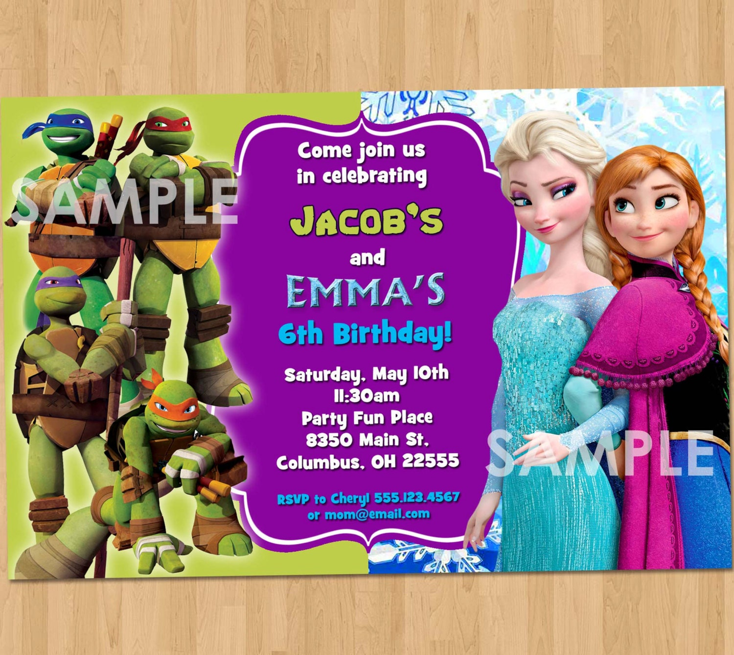 Double Birthday Invitation TMNT and Frozen Printable