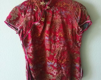 red Chinese blouse