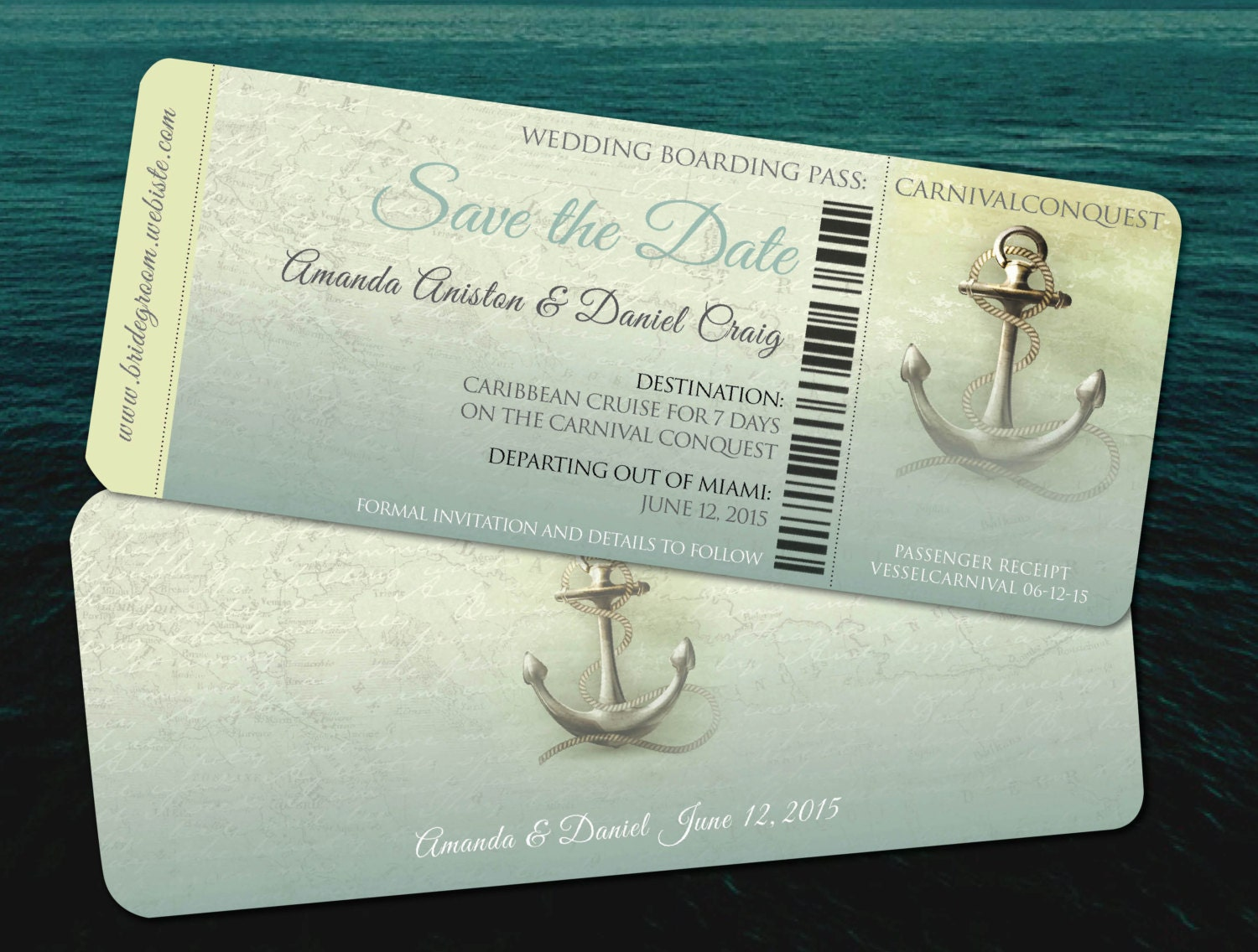 Cruise Wedding Invitation Wording Examples: Save The Date Destination Cruise Wedding // Aqua Teal Travel