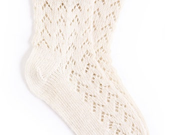 Women's knitted lambswool Lace Socks/white/gray/natural/melange
