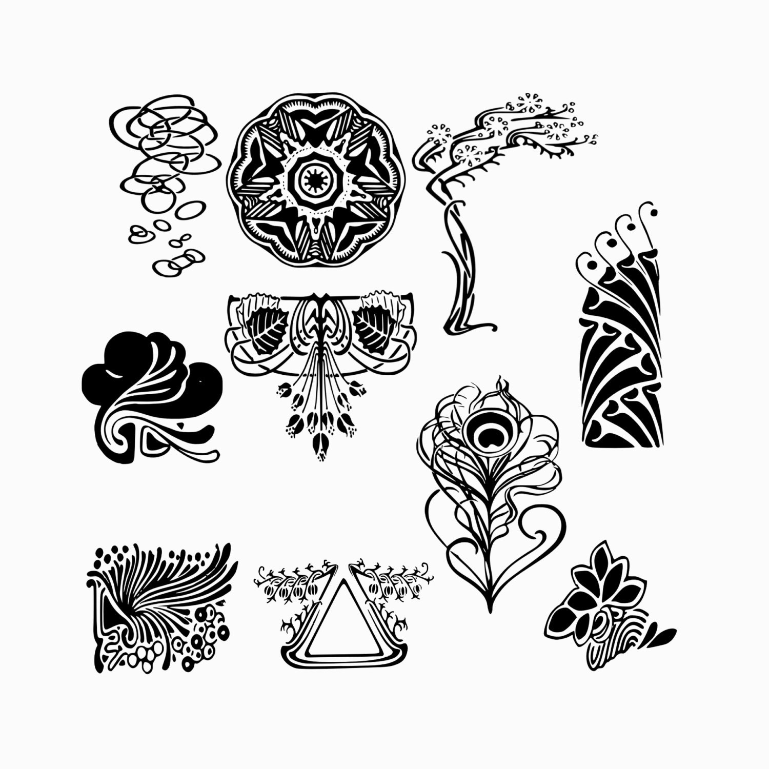 Art Deco Shapes Vector Floral Art Deco Shapes