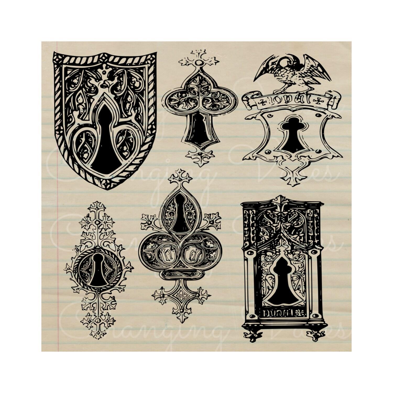 Vintage Keyhole Images Digital Graphics Clip Art by ...