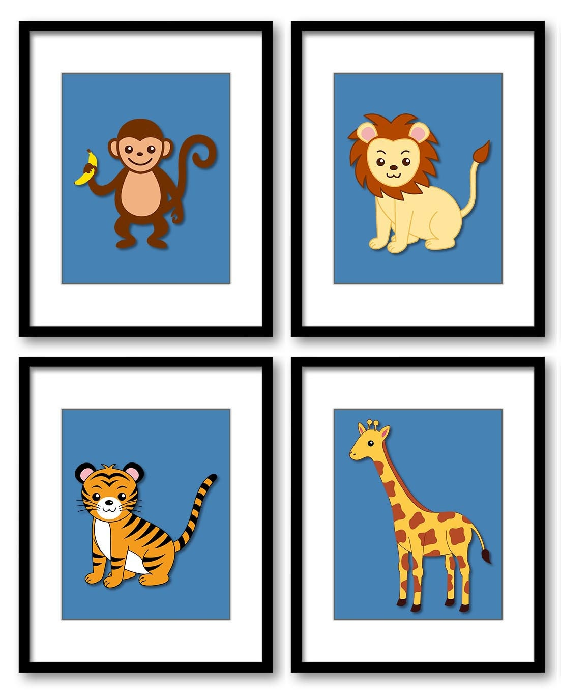 Africa Safari Jungle Animals Nursery Art Nursery Print Baby Blue Set of 4 Prints Giraffe Tiger Monke