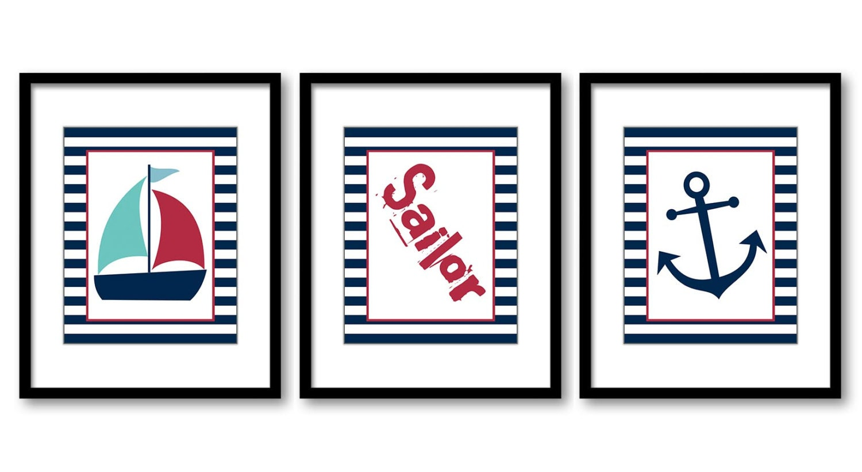 Nautical Ocean Marine Blue Red Sailboat Sailor Anchor Boy Art Nursery Art Nursery Print Baby Set of