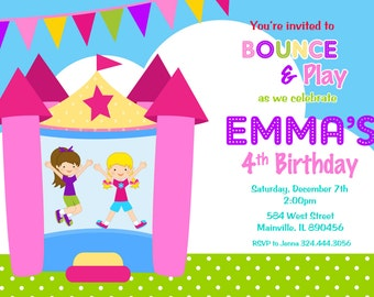 Bounce House Birthday Party Invitation / Bouncy Castle / Bounce House /Inflatable Jump