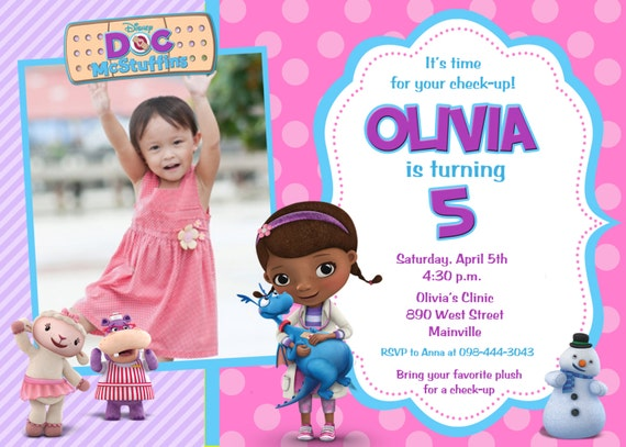 items similar to doc mcstuffins birthday party invitation, Party invitations