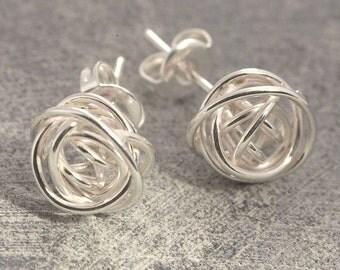Earrings - Studs - Wire Earrings - Silver Stud Earrings - Unique Earrings - 925 Earrings, Simple Earrings, Wire Wrapped Earrings, OtisJaxon