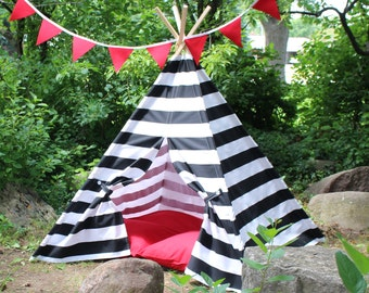 Black Striped Kids Teepee, Play Tent, Kids Tent, Teepee Bedroom, Play Room Teepee, Nautical Teepee, Playhouse, Tee Pee, Childrens Teepee