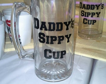 Daddy's Sippy Cup Glass Mug