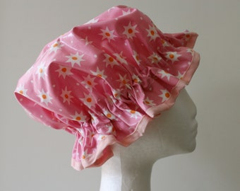 Girls Shower Cap. Handmade. PVC Free, Exterior Laminated Cotton Pretty & Practical. Eco - Friendly. Gift For Girls