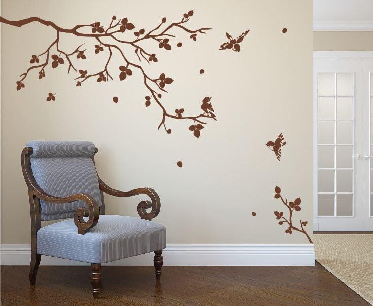 Vinilo arte realista natural rbol rama con p jaros fresco for Calcomanias para pared