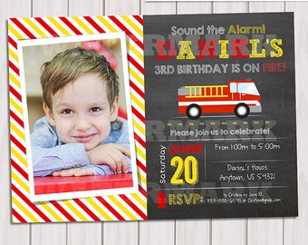 Firefighter Chalkboard Photo Invitation, Fire Truck Invitation, Firetruck Invitation, Fireman invitation, Card printable DIY