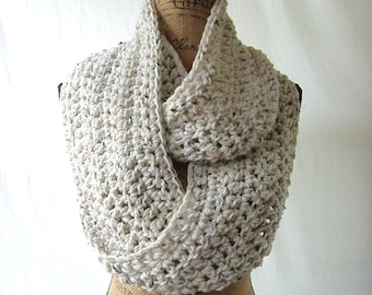 Infinity Scarf New Tweed Ivory Black Brown Oatmeal Cowl Scarf Fall Winter Women's Accessory Infinity