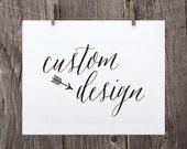 Custom Printable Design including Photo or Complex Design, Printable with Custom Design by Sweet Peony Press, Custom Art Print