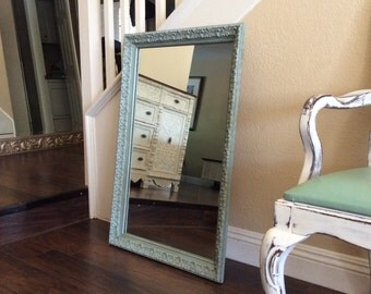 items similar to turquoise teal painted shabby chic wall mir